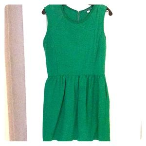 Emerald green cotton chevron dress
